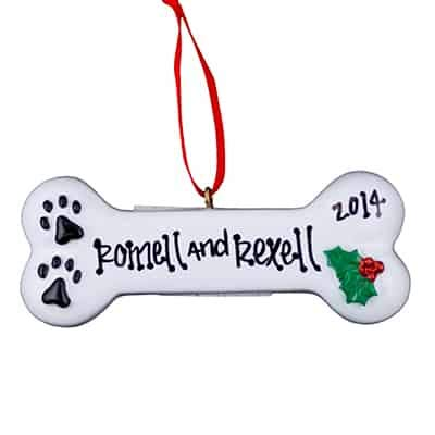 White Dog Bone Personalized Ornament - (Unique Christmas Tree Ornament - Classic Decor for A Holiday Party - Custom Decorations for Family Kids Baby Military Sports Or Pets) ()
