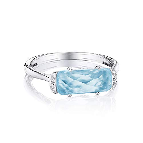 - Tacori SR22402 Sterling Silver Sky Blue Topaz Solitaire Emerald Cut Ring, Size 7