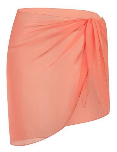 DOSWODE Women's Swimsuit Cover Up Summer Beach Wrap Skirt Swimwear Chiffon Pareo Sarong Bikini Coverups Orange