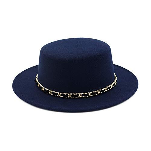 (Women Wool Felt Boater hat Flat Top Fedoras Hats with Chain Band Wide Brim Feltro Bowler Gambler Hat Chapeau Navy Blue)