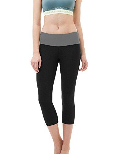 Active Workout Capri Leggings, Yoga Pants For Women (Large, Black) (Medium, Black)