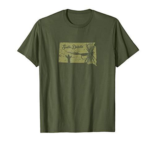 Vintage Fish South Dakota State Map SD Fly Fishing T-Shirt