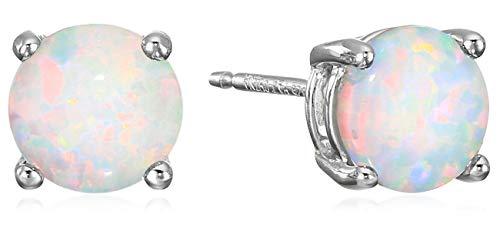 Amazon Essentials Sterling Silver Round Created Opal Birthstone Stud Earrings (October) (Child Birthstone Jewelry)