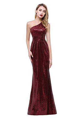 karever Women's Sequined Long Bridesmaid Dresses One Shoulder Pleat Rose Gold Wedding Party Gown (16, Burgundy)
