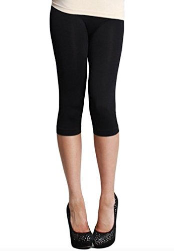 Nikibiki Womens Nylon 3/4 Smooth Crop Leggings (Black) (Seamless Capri Leggings)