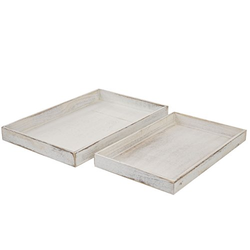 2er Set Schale T285, Serviertablett Frühstückstablett Holztablett Dekotablett, Shabby-Look ~ weiß