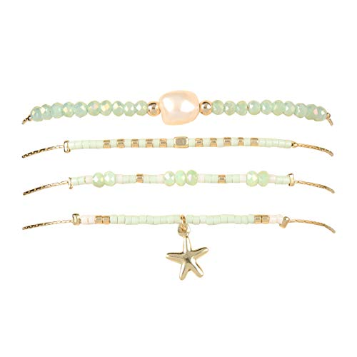 RIAH FASHION Bohemian Multi Layer Beads Pendant Charm Stack Friendship Bracelet - Delicate Beaded Layering Adjustable Strand Cuff Bangles Set (Mermaid Set - Mint)
