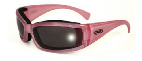 Global Vision Eyewear Fight Back-2 Sunglasses, Smoke Tint Anti-Fog Lens, Pearlescent Pink (Pearlescent Glass)