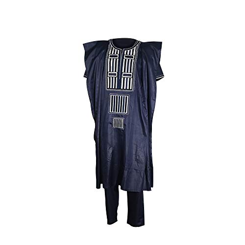 African Family Matching Outfits Clothes 3 Pieces Agbada Robe Daddy and Me Clothing for Man, Blue 4XL -