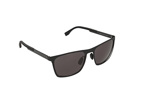 BOSS by Hugo Boss Men's B0732S Rectangular Sunglasses, Matte Black Carbon/Gray, 57 - Sunglasses Boss