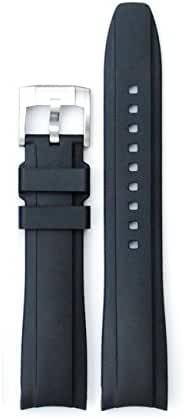 Everest Curved End Rubber Watchband w/ Buckle for Rolex Sports Models