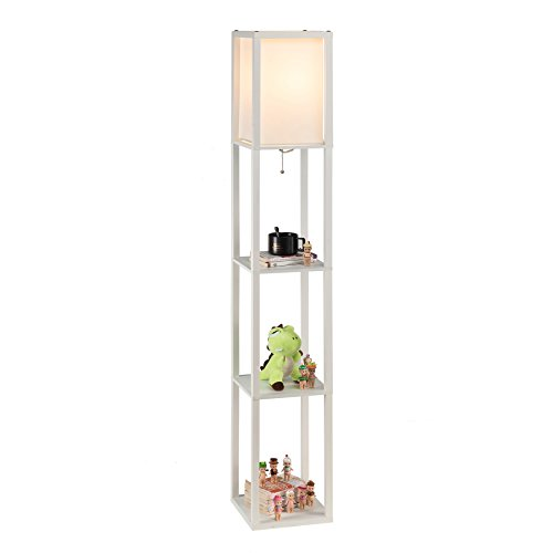 Column Accent Table - CO-Z Floor Lamp, Etagere Lamp with Shelves, Standing Lamp with 3 Wood Display Storage Shelves for Bedroom Bedside Corner Living Room, Simple Modern Floor Lights with LED Bulb