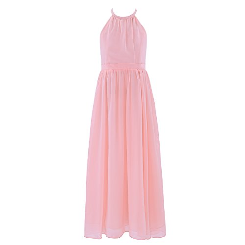 - CHICTRY Big Girls Junior Halter Neck Chiffon Long Party Wedding Evening Prom Gown Dress Pearl Pink 10