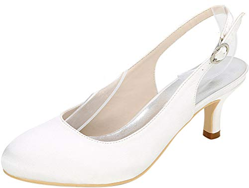 Womens Round Toe Slip On Dress Bride Pump Wedding Court Party Slingback 1195-02 White US Size8.5