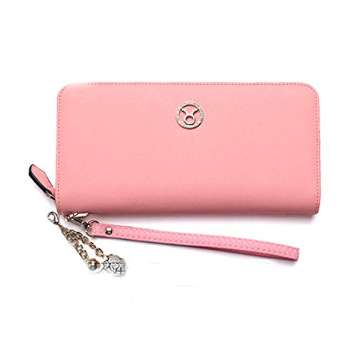 Muziwenju Women's 12 Constellation Leather Wallet, Clutch, Big Travel Wallet, Women's Zipper Wallet, Women's Boxed Gift, Love Gift (Pink) Latest Style, Practical (Color : Taurus)