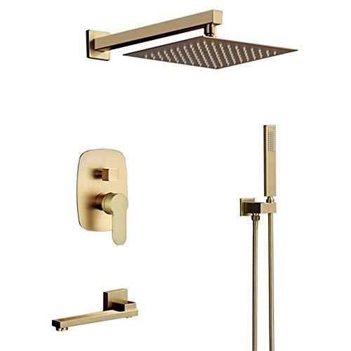 Bilu-hose Brass Brushed Gold 12 Inch Wall Mount Rainfall Shower Faucet System Mixer Set