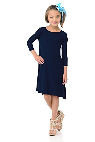 Pastel by Vivienne Honey Vanilla Girls' Trapeze Dress with Easy Removable Label Medium 7-8 Years Navy