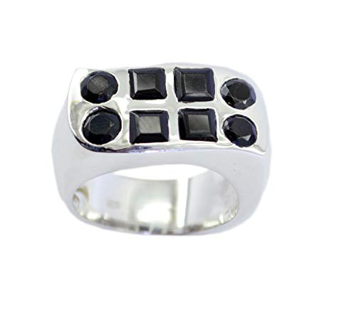 Jewellery 925 Sterling Silver Captivating Natural Black Ring, Black Onyx Black Gems Silver Ring -