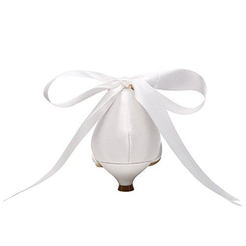Heel Ribbon Prom Women's Pumps Pearls Shoes Toe M Wedding Rhinestones Low Peep Ivory MULGARIA Satin Yg8TqT