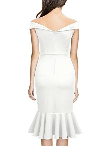 Knitee Style H Evening Slim Dress Party Shoulder Off Women's white Elegant SxrgSqf