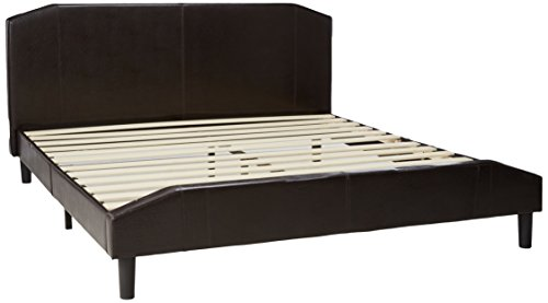 Zinus Sculpted Faux Leather Platform Bed with Footboard and Wooden Slats, King, Espresso