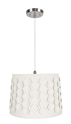 (Aspen Creative 79341-11 One Hanging Pendant Ceiling Light with Transitional Empire Fabric Lamp Shade, Off White, 14