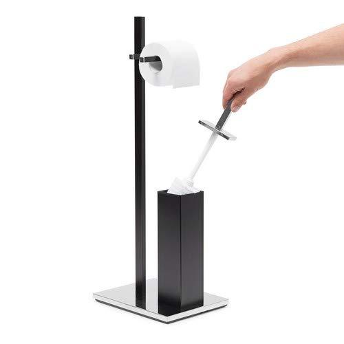 Noir Relaxdays 10020129 Ensemble Support Brosse WC Porte-Papier Toilettes INOX Dimensions Hxlxp 73 x 21,5 x 27,5 cm 27,5 x 21,5 x 73 cm Acier Inoxydable