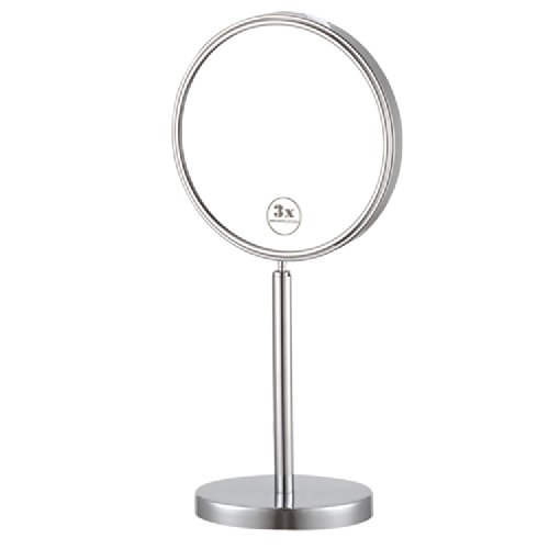 Nameeks AR7716-CR-3x Glimmer Double Sided Free Standing 3x Magnification Makeup Mirror, Chrome/Satin Nickel/Gold by Nameeks