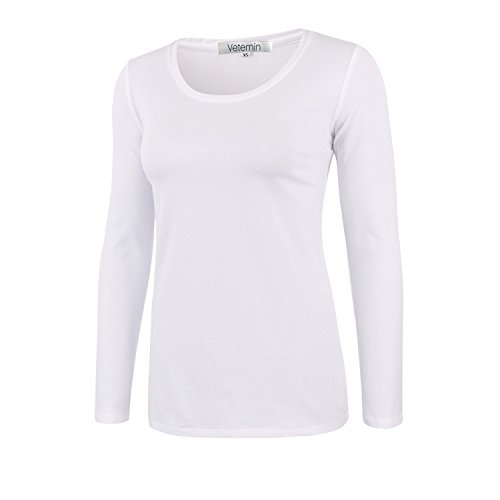 White Basic Crewneck T-shirt (Vetemin Women Basic Soft Lightweight Long Sleeve Round Crew Neck T Shirt Tee Top White L)