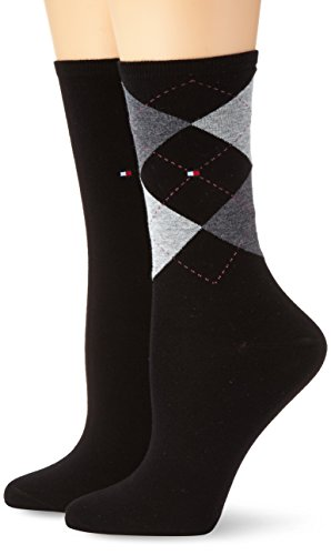 Tommy Hilfiger Damen Socken TH CHECK SOCK 2P, 2er Pack, Gr. 39/42, Schwarz (black 200)