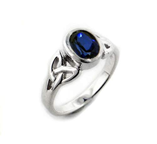 Sterling Silver Celtic Knot and Created Blue Sapphire Ring Size 9(Sizes 4,5,6,7,8,9,10,11,12,13,14,15) Blue Sapphire Celtic Ring