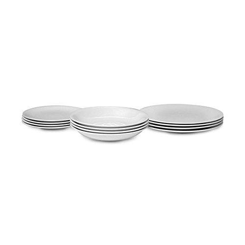 "Alessi ""All-Time"" Table Set Composed of Four Dining Plates, Soup Bowls, Side Plates in Bone China, White - AGV29S12"