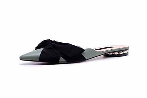 Cuir Femmes Très pour Confortable HBDLH Bon L'Été des Forte La Un green Faible Mode Occasionnels avec en Papillon Une Nez Chaussures Est avec Chaussures Et Noeud wSppxqnEP