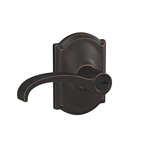 Schlage F51A WIT 716 CAM Whitney Lever with Camelot Trim Keyed Entry Lock, Aged Bronze