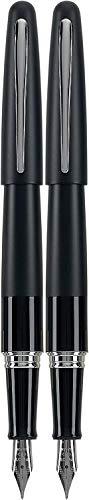 PILOT Metropolitan Collection Fountain Pen, Black Barrel, Classic Design, Fine Nib, Black Ink (91111) Pack of 2