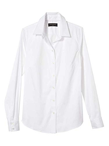 Banana Republic Womens Tailored Fit Non-Iron Button Down Shirt Blouse Solid White (12)
