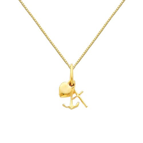 Pendant Charm Charity - GM Fine Jewelry 14k Yellow Gold Faith, Hope, and Charity Charm Pendant with 0.65mm Box Link Chain Necklace - 18
