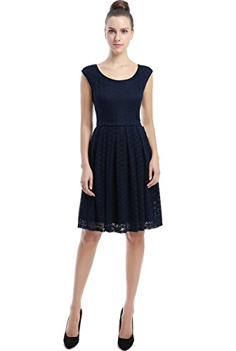 """Phistic Women's """"Kelly"""" Lace Skater Dress - Navy 22"""