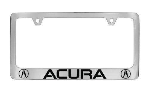 Acura Logo Chrome Plated Bottom Engraved Metal License Plate Frame Holder