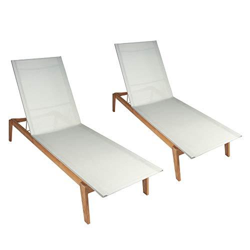 POVL Outdoor Menlo Teak Chaise Lounge - Set of 2 (Winter) (Teak Plantation Frame)