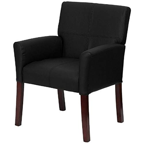 - Contemporary Design Executive Reception Accent Chair Durable LeatherSoft Upholstered Seat Solid Mahogany Finished Wood Legs Home Office Dining Room Furniture - (1) Black #2223