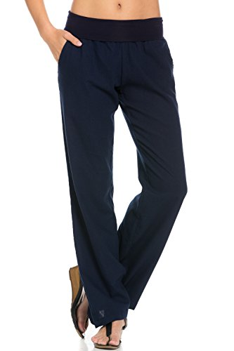 - Poplooks Women's Comfy Fold Over Linen Pants (Medium, Navy)