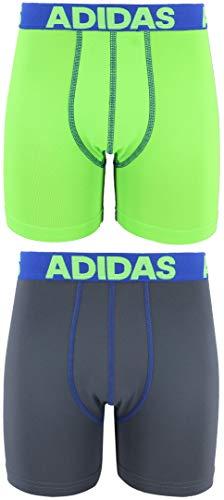 adidas Youth Kids-Boys Sport Performance Climalite Boxer Brief Underwear (2-Pack), Solar Green/Blue Onix/Blue, MEDIUM