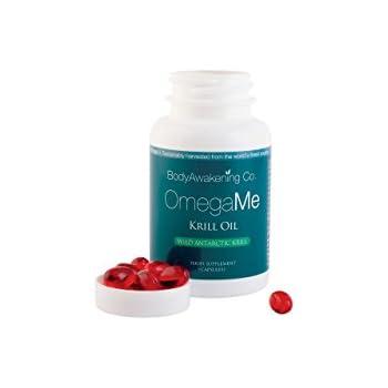 BodyAwakening OmegaMe Fish Oil, 550mg Krill Oil, 120mg Omega 3 Fatty Acids per Cap, With EPA, DHA, and Astaxanthin - 60 Mini Softgels