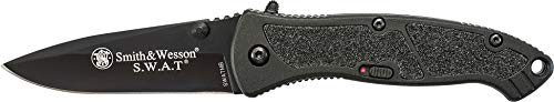 Smith & Wesson SWATMB 7.5in High Carbon S.S. Assisted Opening Knife with 3.2in Drop Point Blade and Aluminum Handle for Outdoor, Tactical, Survival and - Knife Smith Swat And Wesson