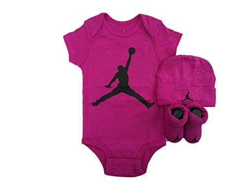 NIKE Jordan Jumpman 3 Piece Infant Set (Fuchsia Blast(BJ0041-A6F)/Black, 6-12 Months) (Jordan Toddler Outfit)