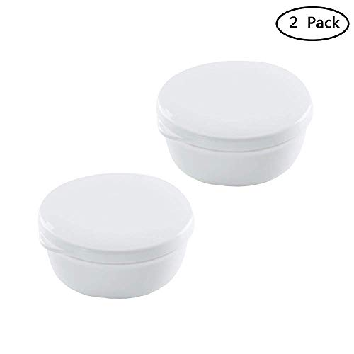 Portable Plastic Soap Box with Lid Draining Home Outdoor Travel Home Bathroom Soap Holder Container White(2Pcs) (Round)