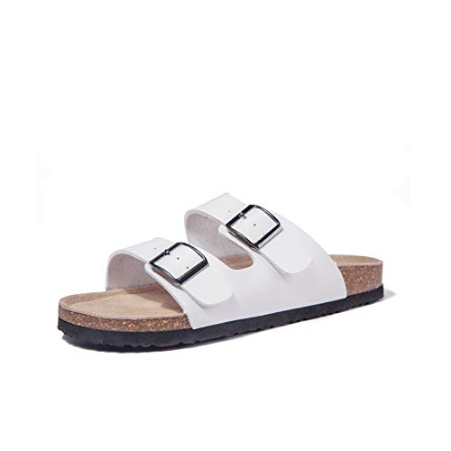 (Women Arizona 2-Strap Adjustable Buckle, Flat Casual Cork Slide Sandals,Slide Cork Footbed Sandals for Women/Ladies/Girls (11B(M)(EU42), White))