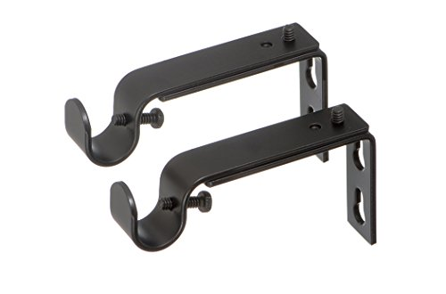 Ivilon Adjustable Brackets for Curtain Rods - for 1/2 or 5/8 Inch Rods. Set of 2 - Antique Black