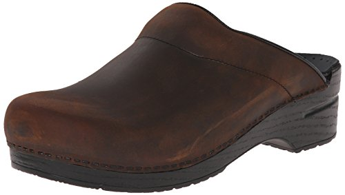 Leather Mens Clogs - Dansko Men's Karl Oiled Leather Clog,Antique Brown/Black Sole,43 EU (9.5-10 M US)
